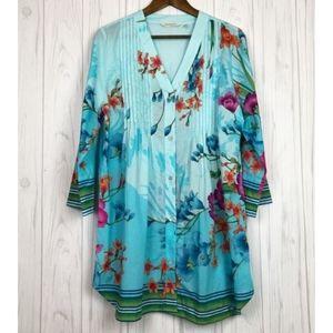 Soft Surroundings L Floral Button Tunic